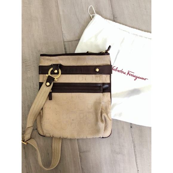 Salvatore Ferragamo Handbags - Ferragamo canvas and leather trim crossbody
